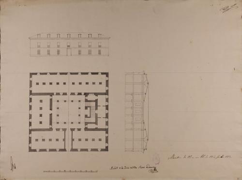 Planta, alzado de la fachada principal y sección transversal de un edificio civil