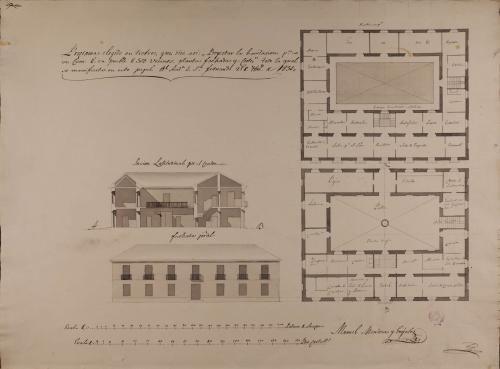 Plantas baja y principal, alzado de la fachada principal y sección AB de una casa para un cura en un pueblo de 500 vecinos