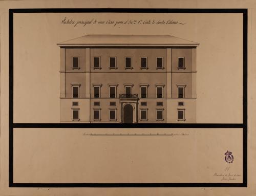 Alzado de la fachada principal de una casa para el conde de Santa Coloma