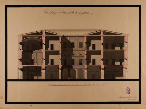 Sección AB de un casa para el conde de Santa Coloma