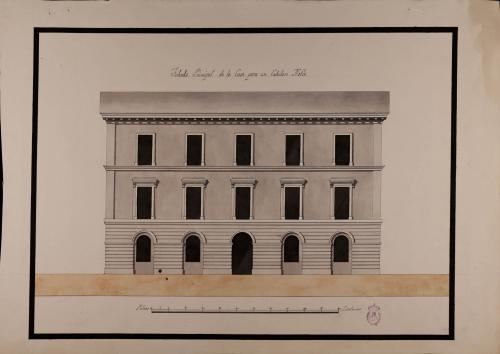 Alzado de la fachada principal de una casa de un caballero hacendado