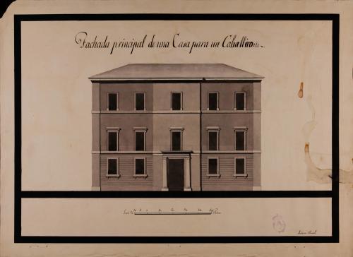 Alzado de la fachada principal de una casa para un caballero.