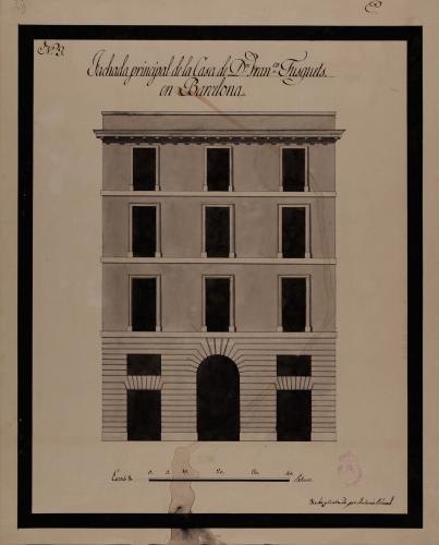 Alzado de la fachada principal de la casa de Francisco Tusquets en Barcelona