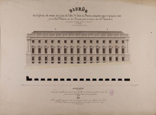 Planta y alzado de la fachada que en la casa del conde de Altamira dispuso y ejecutó Ventura Rodríguez