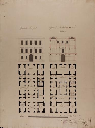 Plantas baja y principal, alzado de la fachada principal y sección AB de una casa de dos plantas para un caballero con familia