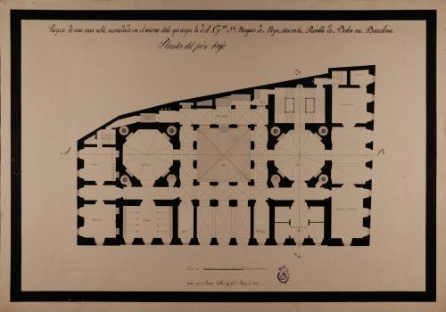 Planta baja de una casa noble acomodada en el mismo sitio que ocupa la del marqués de Moya, en la Rambla de Belén en Barcelona