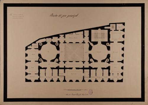 Planta principal de una casa noble acomodada en el mismo sitio que ocupa la del marqués de Moya, en la Rambla de Belén en Barcelona