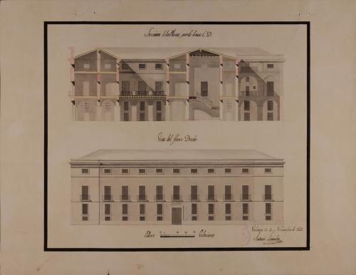 Alzado de la fachada lateral y sección CD de un casa para un caballero