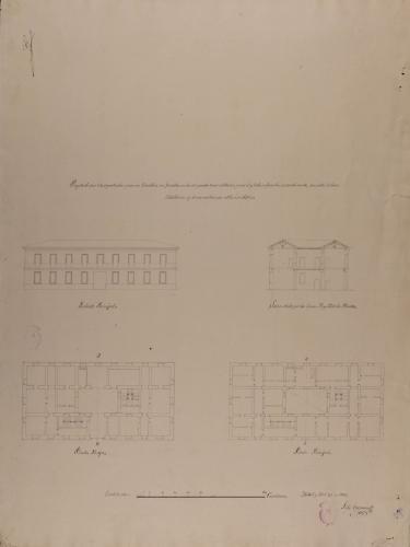 Plantas baja y principal, alzado de la fachada principal y sección AB de un casa particular para un caballero con familia