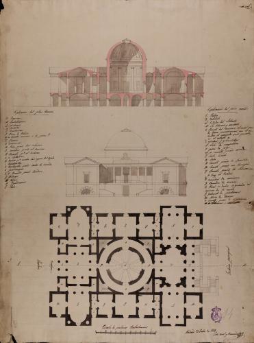 Plantas baja y principal, alzado de la fachada principal y sección AB de una casa palacio para un literato