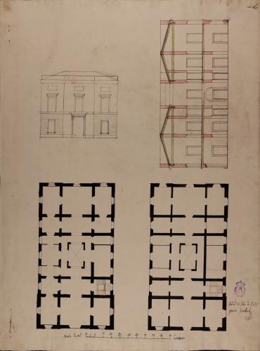Plantas, alzado de la fachada principal y sección de una casa particular