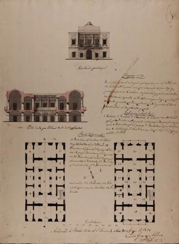 Plantas baja y principal, alzado de la fachada principal y sección AB de una casa para un caballero con familia en un sitio rectangular con familia