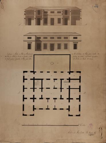 Planta baja, alzado de la fachada principal y sección AB de un casa de campo y recreo para una persona con título