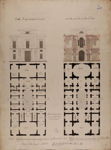 Plantas baja y principal, alzado de la fachada principal y sección AB de una casa para un caballero