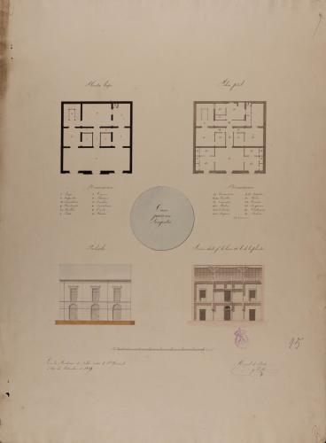 Plantas baja y principal, alzado de la fachada principal y sección AB de una casa para un lonjista.