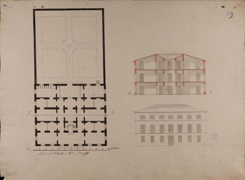 Planta baja, alzado de la fachada principal y sección AB de una casa para un particular