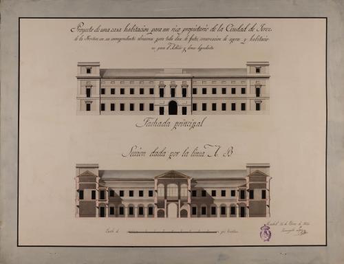 Alzado de la fachada principal y sección AB de una casa para un rico propietario de Jerez de la Frontera