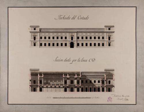 Alzado de la fachada lateral y sección CD de una casa para un rico propietario de Jerez de la Frontera