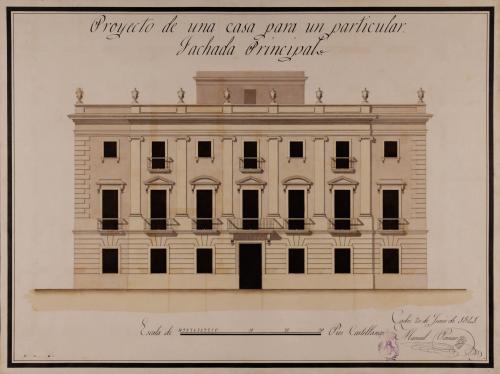 Alzado de la fachada principal de una casa para un particular