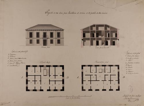 Plantas baja y principal, alzado de la fachada principal y sección AB