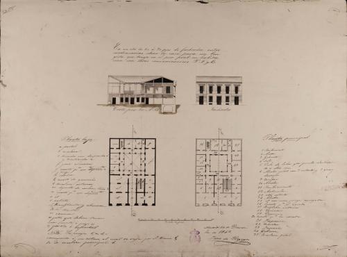 Plantas baja y principal, alzado de la fachada principal y sección AB de una casa para un lonjista