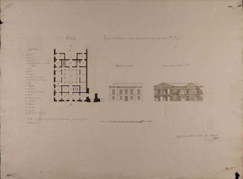 Planta baja, alzado de la fachada principal y sección AB de una casa para un cura de un pueblo de 500 vecinos