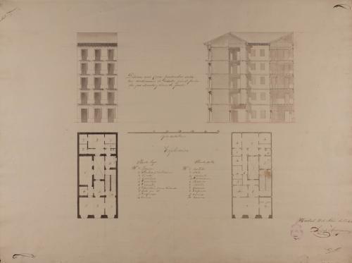 Planta baja y principal, alzado de la fachada principal y sección de una casa particular entre medianerías