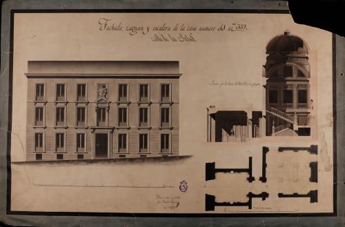 Planta, alzado de la fachada principal y sección por la línea A.B.C.D de la casa nº 11 de la calle de la Salud de Madrid