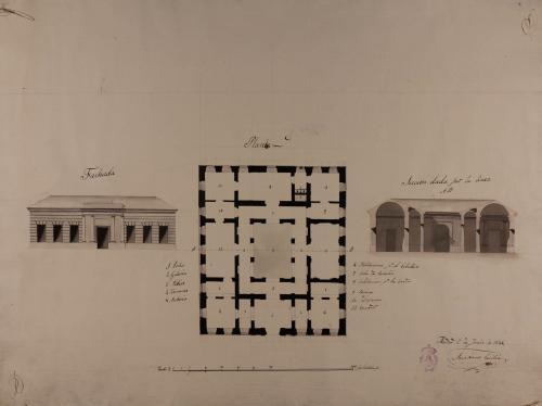 Planta, alzado de la fachada principal y sección AB de una casa de un caballero para vivir en la Corte