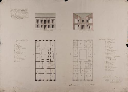 Plantas baja y principal, alzado de la fachada principal y sección AB de una casa para un caballero con familia