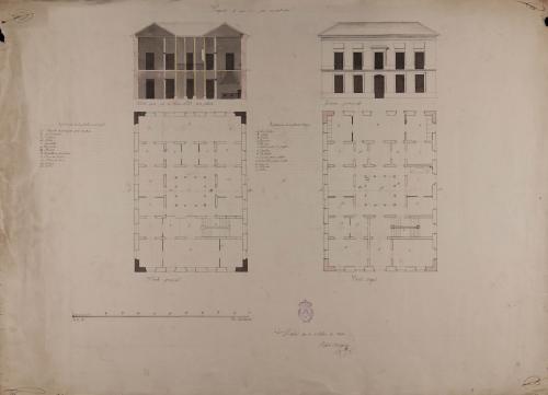 Plantas baja y principal, alzado de la fachada principal y sección AB de una casa para un particular en un terreno de figura y dimensiones arbitrarias