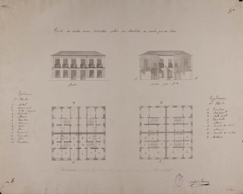 Plantas baja y principal, alzado de la fachada principal y sección AB de cuatro casas formadas sobre un cuadrilátero de sesenta pies de lado