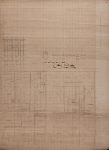 Plantas baja y principal, y alzado de la fachada principal de una casa particular