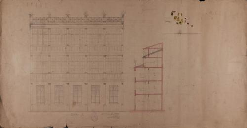 Alzado de la fachada principal y sección de la casa del marqués de Casa Jiménez