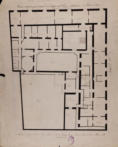Planta principal de la casa del marqués de Iturbieta, entre la Carrera de San Jerónimo y la calle de Baño (Madrid)