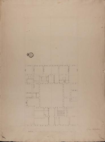 Planta de una casa de un rico comerciante sobre un sitio de 140 pies de fachada por 280 de fondo