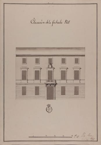 Alzado de la fachada principal de una casa para un caballero particular destinada a una ciudad