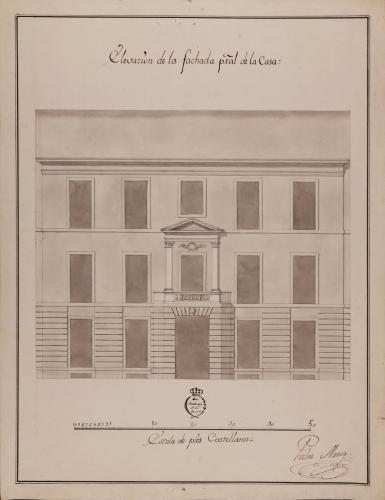 Alzado de la fachada principal de una casa para un caballero particular destinada a una ciudad (2ª versión)
