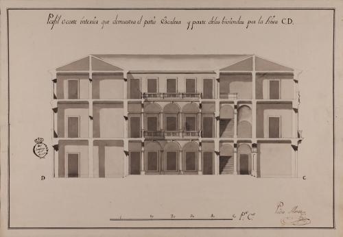 Sección CD de una casa para un caballero particular destinada a una ciudad