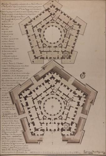 Plantas baja y principal de un palacio o casa de arquitectura oblicua con la distribución conveniente