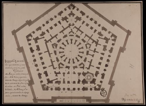 Planta de los fundamentos y sótanos, alumbrados por el foso y patio de un palacio o casa de arquitectura oblicua con la distribución conveniente