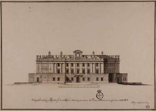 Ortografía vertical por escorzo del plano señalado con K.M.J.O.T de un palacio o casa de arquitectura oblicua con la distribución conveniente