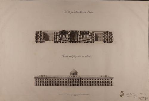 Alzado de la fachada principal y sección AB de un palacio real