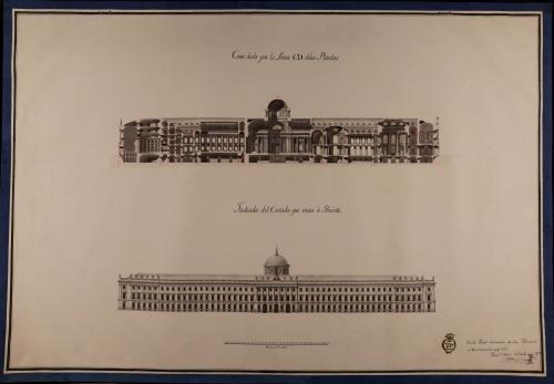 Alzado de la fachada lateral y sección CD de un palacio real