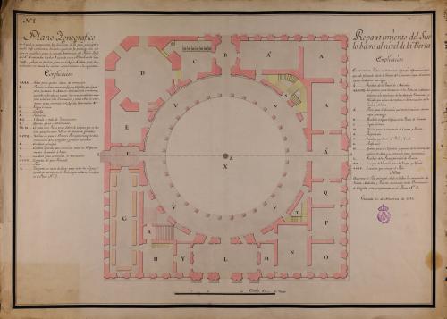 Planta baja del palacio de Carlos V en la Alhambra