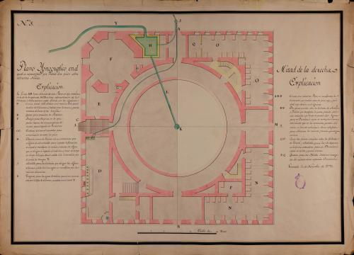 Planta por mitad de dos pisos en diferentes niveles del palacio de Carlos V en la Alhambra