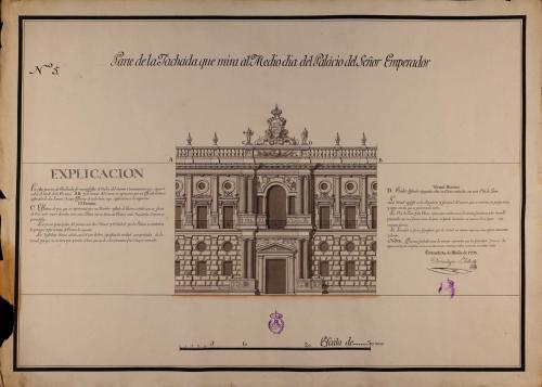 Alzado de la fachada que mira al Mediodía del palacio de Carlos V en la Alhambra