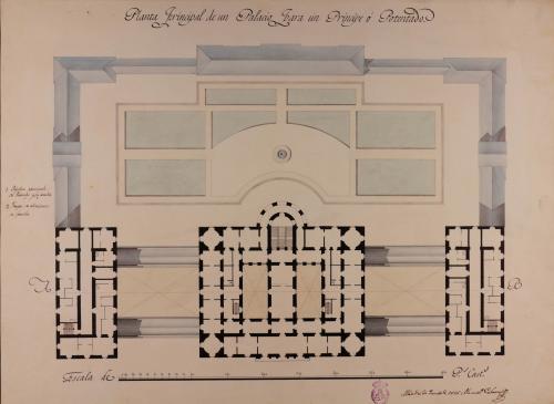 Planta principal de un palacio para un príncipe