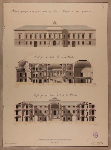 Alzado de la fachada principal y las secciones AB y CD de un palacio para un señor o magnate en una provincia