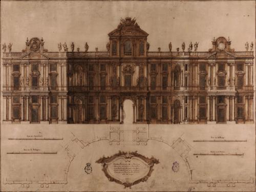 Planta y alzado de la fachada principal de un palacio